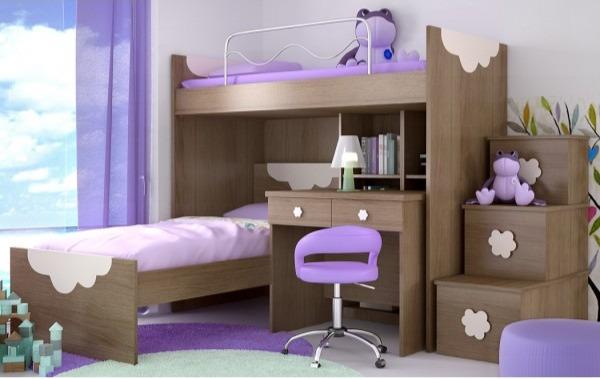 Γωνιακή κουκέτα με γραφείο, βιβλιοθήκη και σκάλα αποθηκευτικού χώρου