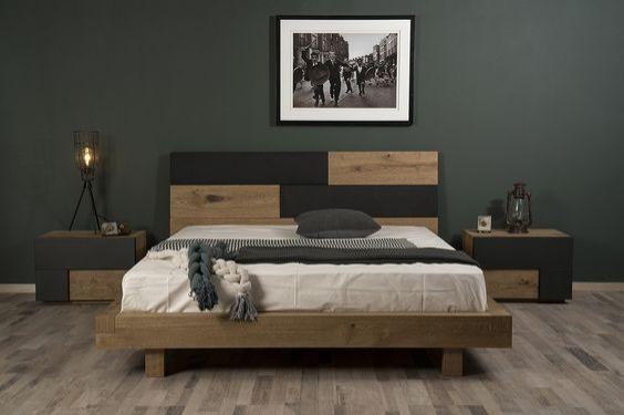 Κρεβατοκάμαρα συνδυασμός ξύλου και υφάσματος