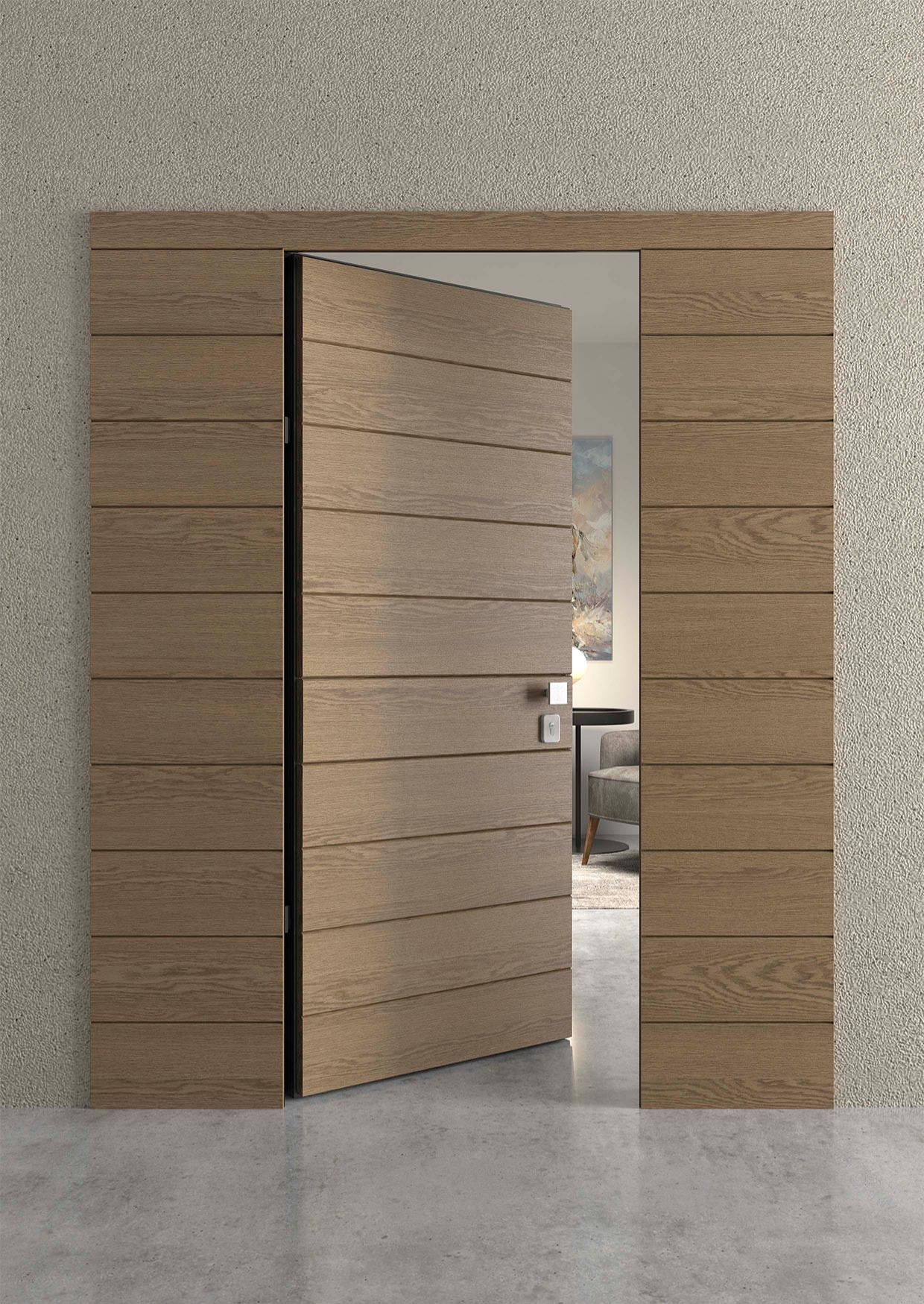 Θωρακισμένη πόρτα κατασκευασμένη από δρυς με οριζόντια νερά