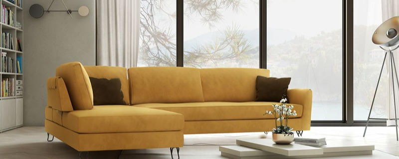 Γωνιακός καναπές σε μοντέρνο ύφος σε λιτή μίνιμαλ γραμμή και αδιάβροχο αλέκιαστο ύφασμα