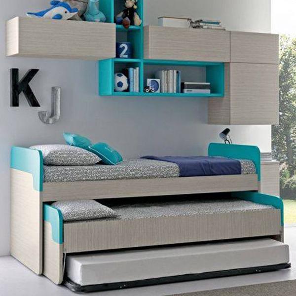 Σετ τριών κρεβατιών με βιβλιοθήκη.